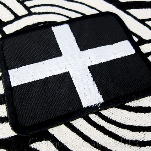 Flag,of,Cornwall,Sew,On,Patch,Handmade,Cornish,St.,Piran,Badge,Celtic,Nation,St. Piran's Flag, Cornwall Flag, Corish Flag, Celtic Nation Patch, Flag of Cornwall Badge