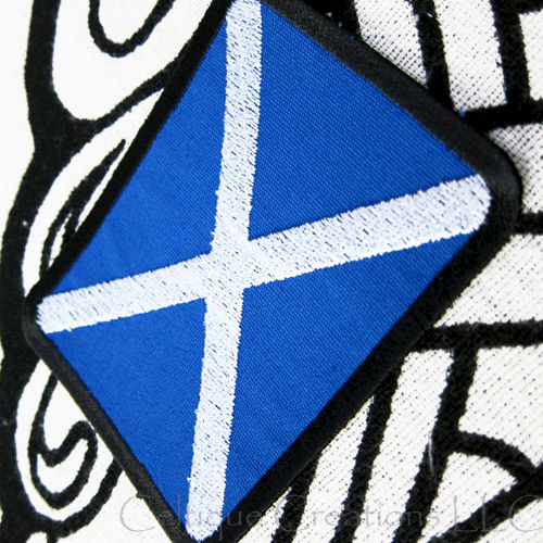 Scottish Flag Sew On Patch St. Andrew's Cross Badge Handmade Scottish Saltire - product images  of