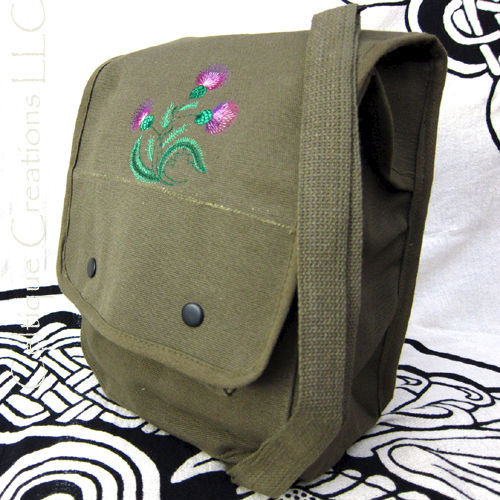 Sketch Scottish Thistle Map Case Messenger Bag Green Cotton Canvas - product images  of