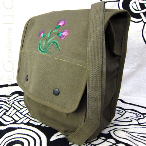 Sketch,Scottish,Thistle,Map,Case,Messenger,Bag,Green,Cotton,Canvas,Scottish Thistle, Messenger Bag, Map Case, Thistle Bag, Cotton Canvas Bag