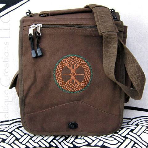 Celtic Tree of Life Knotwork Engineer Messenger Bag Brown Cotton Canvas - product images  of