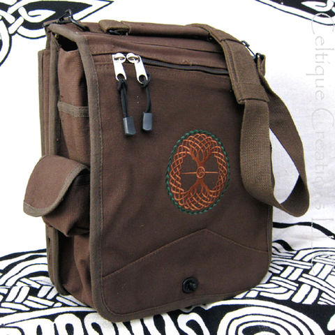 Celtic,Tree,of,Life,Knotwork,Engineer,Messenger,Bag,Brown,Cotton,Canvas,Celtic Bag, Cotton Canvas Messenger, Celtic Tree of Life, Celtique Creations, Celtic Engineer Bag, Celtic Embroidered Bag
