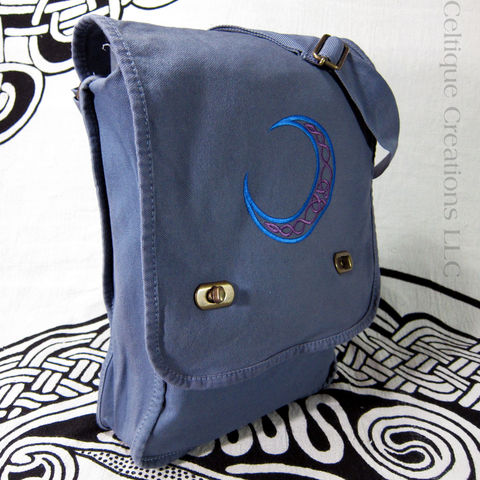 Celtic Moon Field Messenger Bag Blue and Purple on Denim Blue Cotton - product images  of