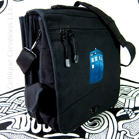 UK,Police,Box,Engineer,Messenger,Bag,Embroidered,Canvas,Carry,All,Police Box, Blue Box, Police Box Bag, UK Police Box, Engineer Bag, Black Cotton Canvas Messenger