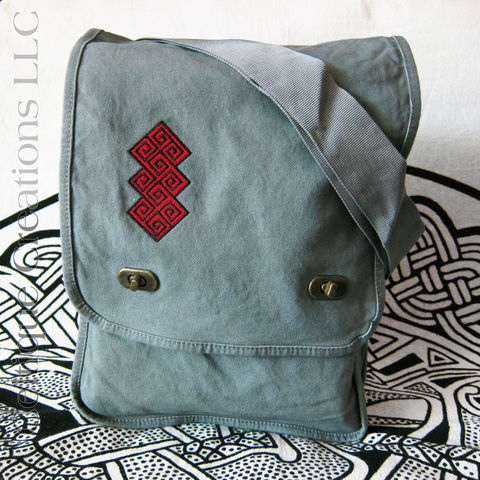 Ancient Celtic Key Pattern Messenger Bag Gray Cotton Canvas Red Black - product images  of