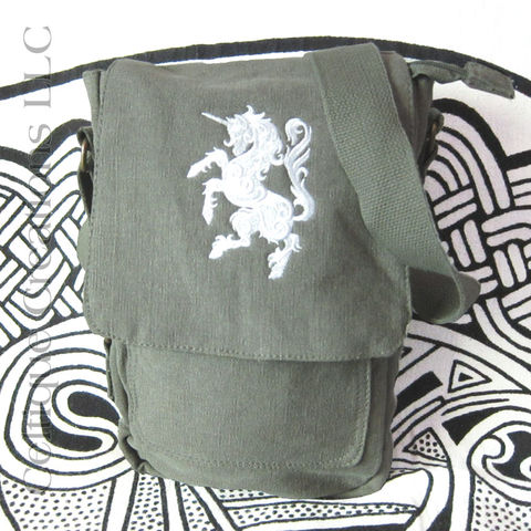 Unicorn Padded Tech Bag Green Cotton Canvas Verticle Tablet Messenger - product images  of