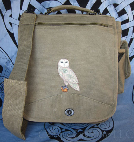Celtic,Owl,Engineer,Messenger,Bag,Embroidered,Knotwork,Bird,Celtic Owl Bag, Cotton Canvas Owl Bag, Celtic Owl Messenger Bag, Celtic Barn Owl, Celtic Owl Engineer Bag