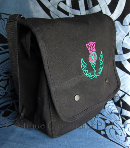 Celtic,Scottish,Thistle,Messenger,Bag,Embroidered,Black,Cotton,Canvas,Celtic Thistle Bag, Scottish Thistle Bag, Celtic Knot Thistle Vertical Messenger Bag