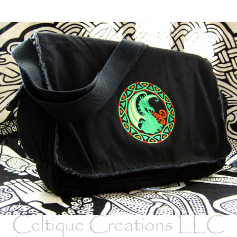 Celtic,Dragon,Messenger,Bag,Black,Cotton,Canvas,Fantasy,Embroidery,Celtic Dragon, Celtic Dragon Messenger Bag, Dragon Messenger Bag, Black Cotton Messenger