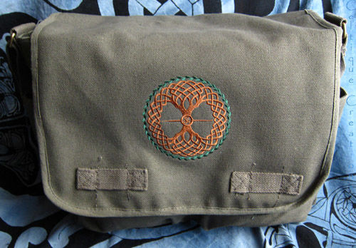 Celtic Tree of Life Messenger Bag Embroidered on Olive Cotton Canvas - product images  of