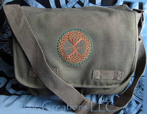 Celtic,Tree,of,Life,Messenger,Bag,Embroidered,on,Olive,Cotton,Canvas,Celtic Tree of Life Messenger Bag, Celtic Tree Bag, Tree of Life Messenger Bag, Cotton Canvas Messenger Bag