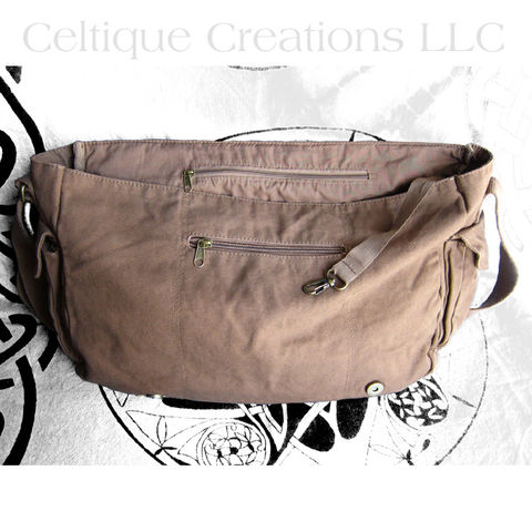 Celtic Tree of Life Messenger Bag Brown Cotton Canvas - product images  of