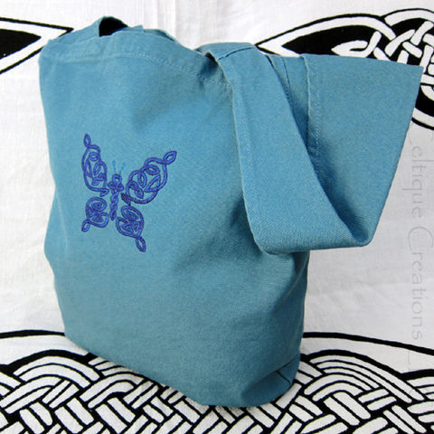 Celtic,Butterfly,Sling,Tote,Bag,Embroidery,in,Blue,and,Purple,on,Teal,Celtic Butterfly Sling Bag, Celtic Sling Bag, Sling Tote, Butterfly Sling Tote Bag