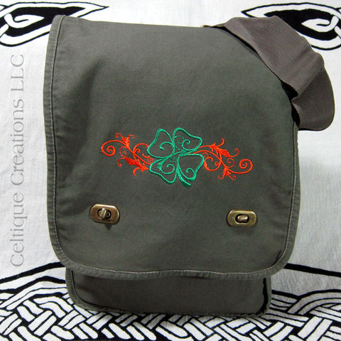 Irish Four Leaf Clover Field Messenger Bag of Green Cotton Canvas - product images  of