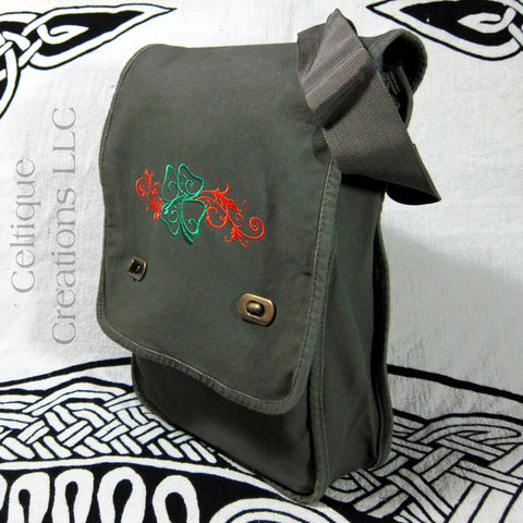 Irish,Four,Leaf,Clover,Field,Messenger,Bag,of,Green,Cotton,Canvas,Four Leaf Clover Messenger Bag, Irish Messenger Bag, Vertical Messenger, Four Leaf Clover Bag, Shamrock Bag