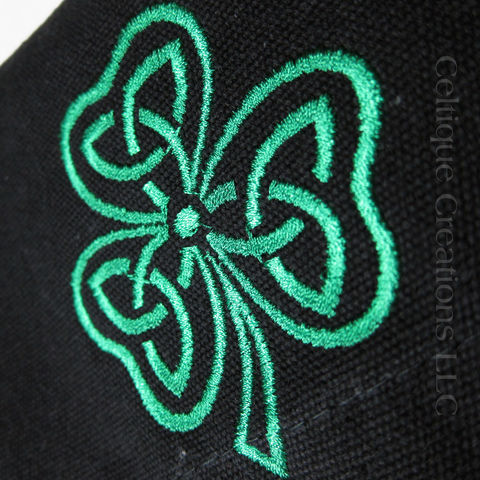 Celtic Shamrock Embroidered Small Messenger Bag Black Cotton Canvas - product images  of