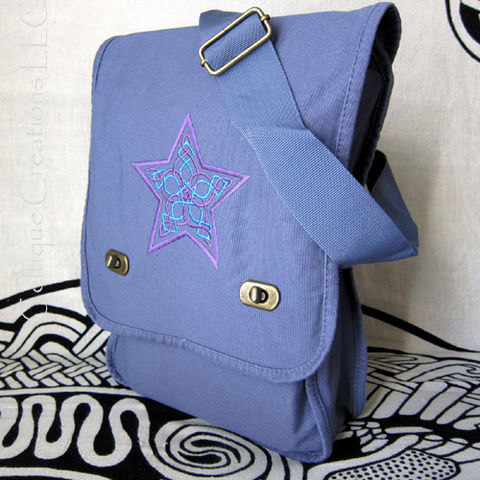 Celtic,Knot,Star,Field,Messenger,Bag,Blue,Cotton,Canvas,with,Embroidey,Celtic Star Bag, Knotwork Star Bag, Celtic Celestial Bag, Celtic Knotwork Bag, Celtic Star Messenger, Celtic Knot Star Messenger Bag