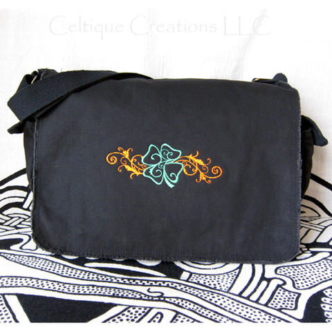 Four,Leaf,Clover,Messenger,Bag,Black,Cotton,Canvas,Flourish,Embroidery,Irish Four Leaf Clover Messenger, Four Leaf Clover Messenger, Shamrock Messenger Bag, Shamrock Bag, Black Cotton Canvas Messenger