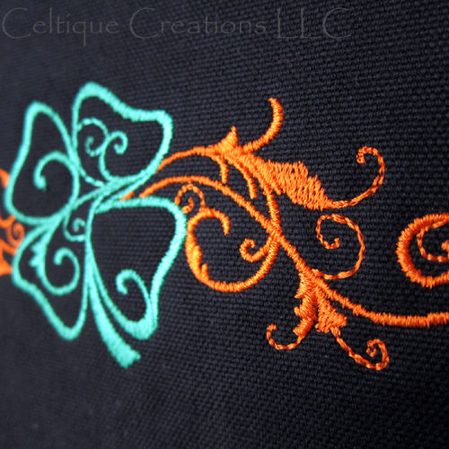 Four Leaf Clover Messenger Bag Black Cotton Canvas Flourish Embroidery - product images  of