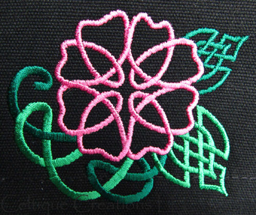 Wild Celtic Rose Vertical Messenger Bag Black Cotton Canvas with Pink and Green Embroidery - product images  of