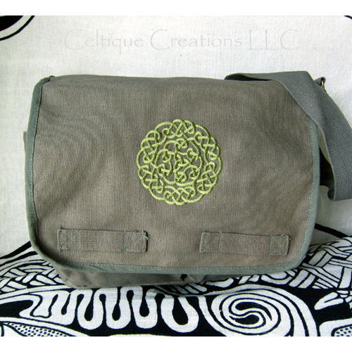 Celtic Circle Knotwork Messenger Bag Olive Cotton Canvas Trinity Triquatra Embroidery - product images  of