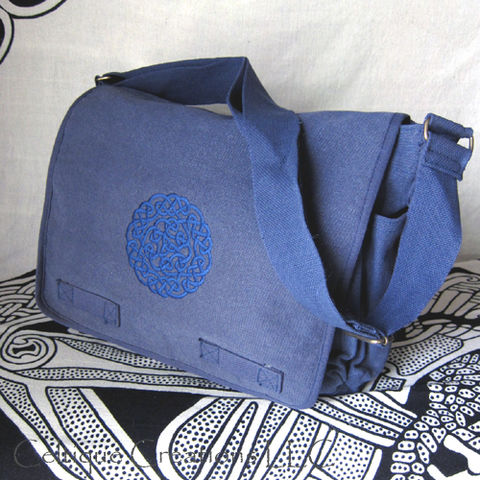 Celtic Knot Messenger Bag Heavy Cotton Canvas Blue Trinity Embroidery - product images  of