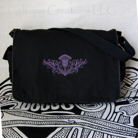 Scottish Thistle Messenger Bag Black Cotton Canvas Flower Embroidery - product images  of