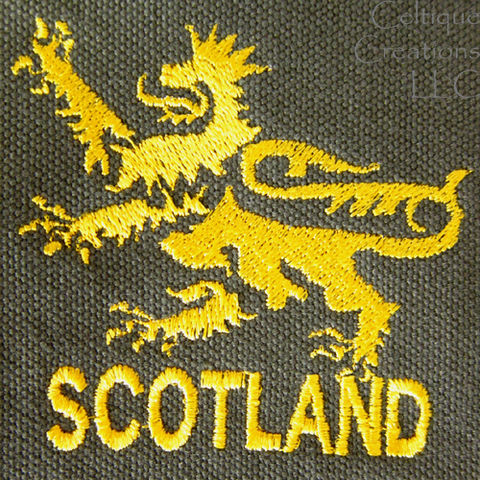Scotland Lion Field Messenger Bag Green Cotton Canvas Gold Embroidery - product images  of