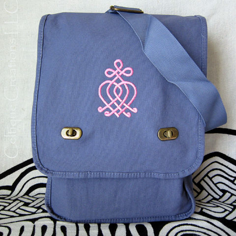 Celtic,Knot,Scottish,Luckenbooth,Field,Messenger,Bag,Blue,Cotton,Pink,Embroidery,Scottish Luckenbooth, Celtic Bag, Celtic Knot Messenger Bag, Luckenbooth Bag, Scottish Vertical Messenger Bag
