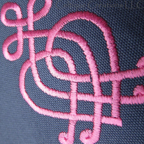 Celtic Knot Scottish Luckenbooth Field Messenger Bag Blue Cotton Pink Embroidery - product images  of