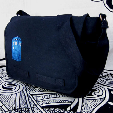 Blue,Police,Box,Messenger,Bag,Black,Cotton,Canvas,UK,Embroidery,Police Box, Blue Box, Police Box Bag, UK Police Box, Messenger Bag,Cotton Canvas Messenger