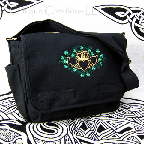 Claddagh,Shamrock,Messenger,Bag,Black,Cotton,Gold,Metallic,Embroidery, Claddagh Bag, Claddagh Shamrock Bag, Shamrock Messenger, Irish Messenger Bag, Cotton Canvas Messenger