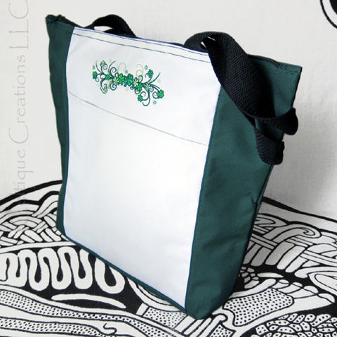Shamrock,Spray,Filigree,Embroidered,Green,and,White,Polyester,Tote,Bag,Shamrock Tote Bag, Shamrock Bag, Irish Tote Bag, Shamrock Embroidered Bag, Green and White Tote Bag, St. Patrick's Day Bag