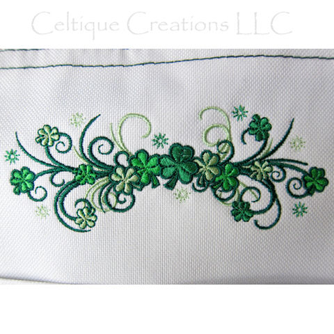 Shamrock Spray Filigree Embroidered Green and White Polyester Tote Bag - product images  of