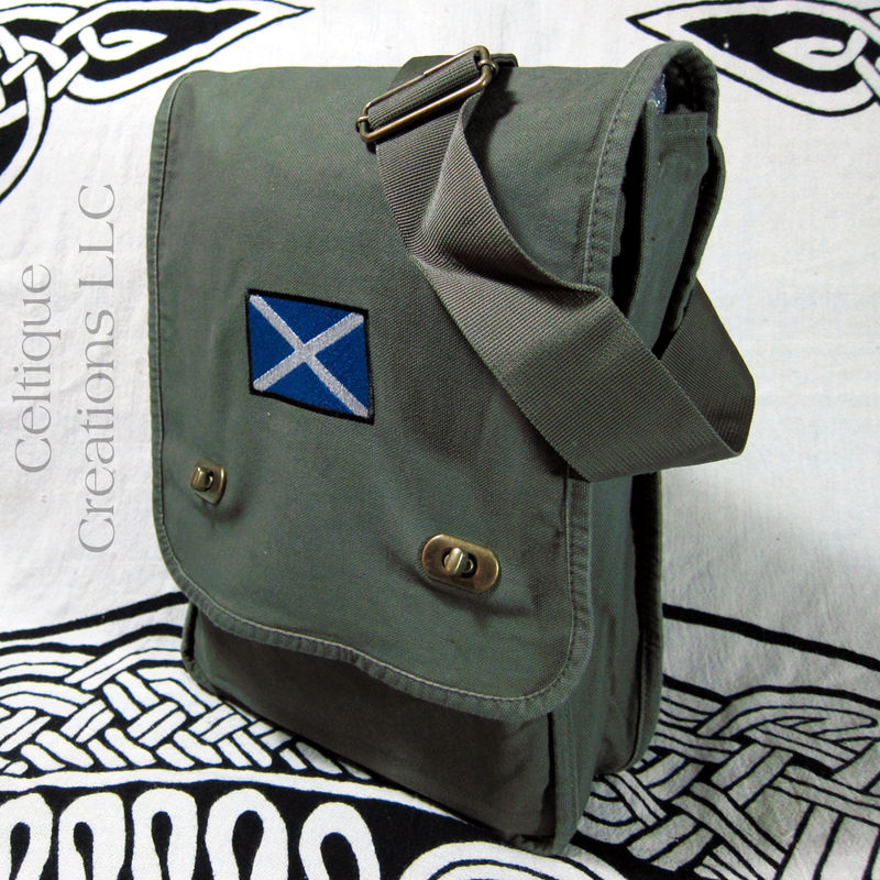 Scottish St Andrews Cross Flag Field Messenger Bag Green Cotton Canvas - product images  of