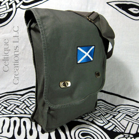 Scottish,St,Andrews,Cross,Flag,Field,Messenger,Bag,Green,Cotton,Canvas,Scottish Flag Messenger, St. Andrew's Cross Bag, Saltire Messenger Bag, Scotland Flag Vertical Messenger