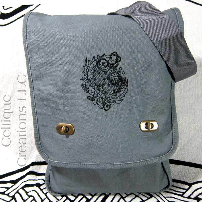 Modern Scottish Thistle Gray Vertical Messenger Bag Gray Cotton Canvas - product images  of