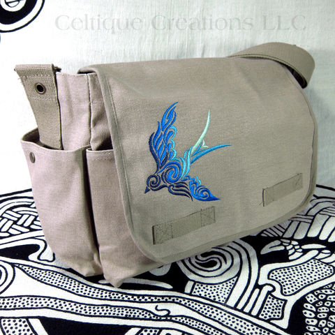Celtic,Spiral,Bird,Messenger,Bag,Khaki,Cotton,Canvas,Blue,Ombre,Swirl,Celtic Swirl Bird, Bird Bag, Swallow Bird Bag, Ombre Embroidered Bird Messenger, Celtic Bird Messenger Bag