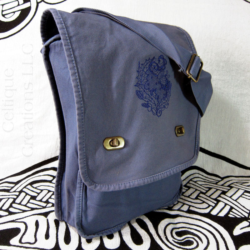 Modern Scottish Thistle Verticle Messenger Bag Blue Cotton Canvas - product images  of