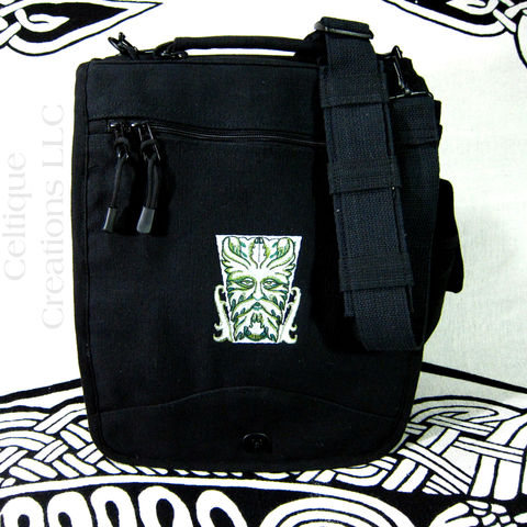 Celtic,Green,Man,Engineer,Messenger,Bag,Black,Cotton,Canvas,Pockets,Green Man Bag, Green Man Engineer Bag, Green Man Vertical Messenger, Black Canvas Engineer Bag, Forest Spirit Vertical Messenger
