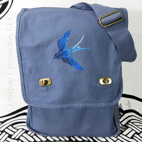 Celtic,Spiral,Swallow,Vertical,Messenger,Bag,Blue,Ombre,Cotton,Canvas,Celtic Swirl Bird, Bird Bag, Swallow Bird Bag, Ombre Embroidered Bird Messenger, Celtic Bird Messenger Bag