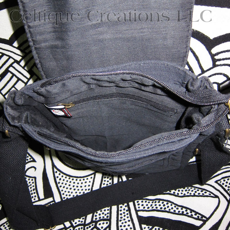Dragon Padded Tech Bag Black Cotton Canvas Tablet Messenger Purse  - product images  of