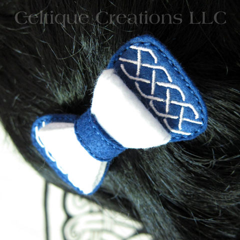 Blue,and,White,Celtic,Knot,Hair,Bow,Handmade,Barrette,Saltire,Colors,Celtic Knot Hair Bow, Celtic Bow Barrette, Celtic Bow Hair Accessory