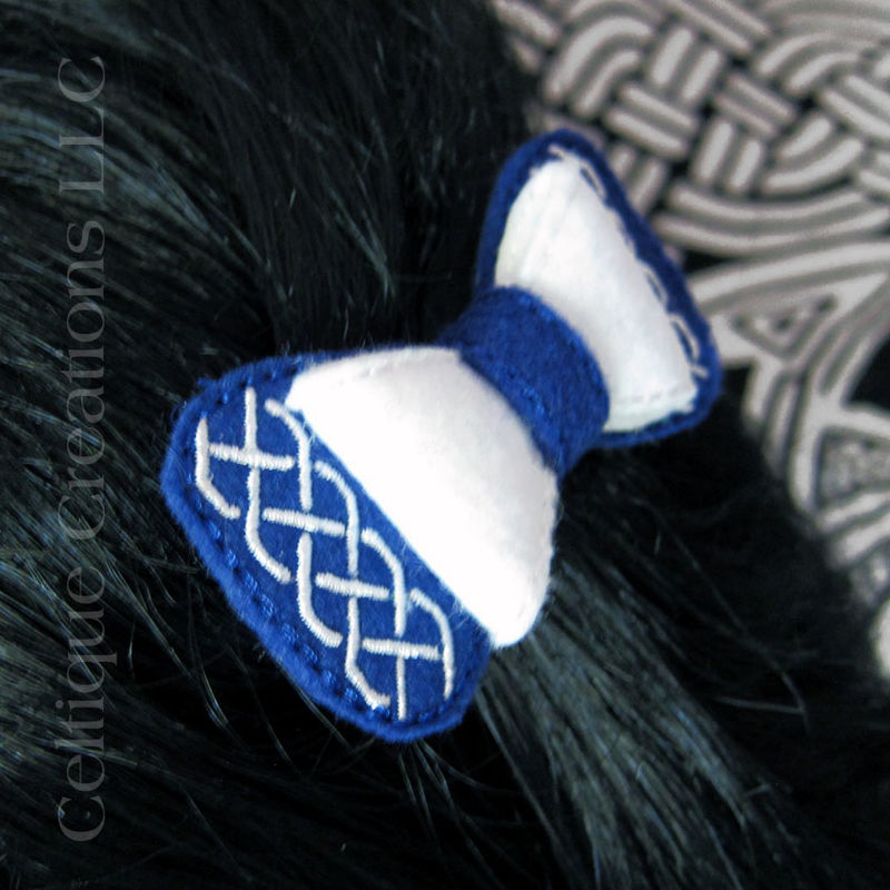 Blue and White Celtic Knot Hair Bow Handmade Barrette Saltire Colors - product images  of
