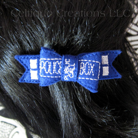 UK,Police,Box,Hair,Bow,Barrette,Handmade,Blue,Felt,Fun,Accessory,UK Police Box, Blue Box, Police Box Bow, Police Box Hair Bow, Police Box Barrette, Blue Police Box Hair Accessory