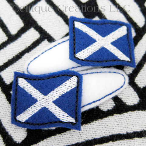 Scottish Flag Snap Hair Clips St Andrews Cross Saltire Handmade Clips - product images  of