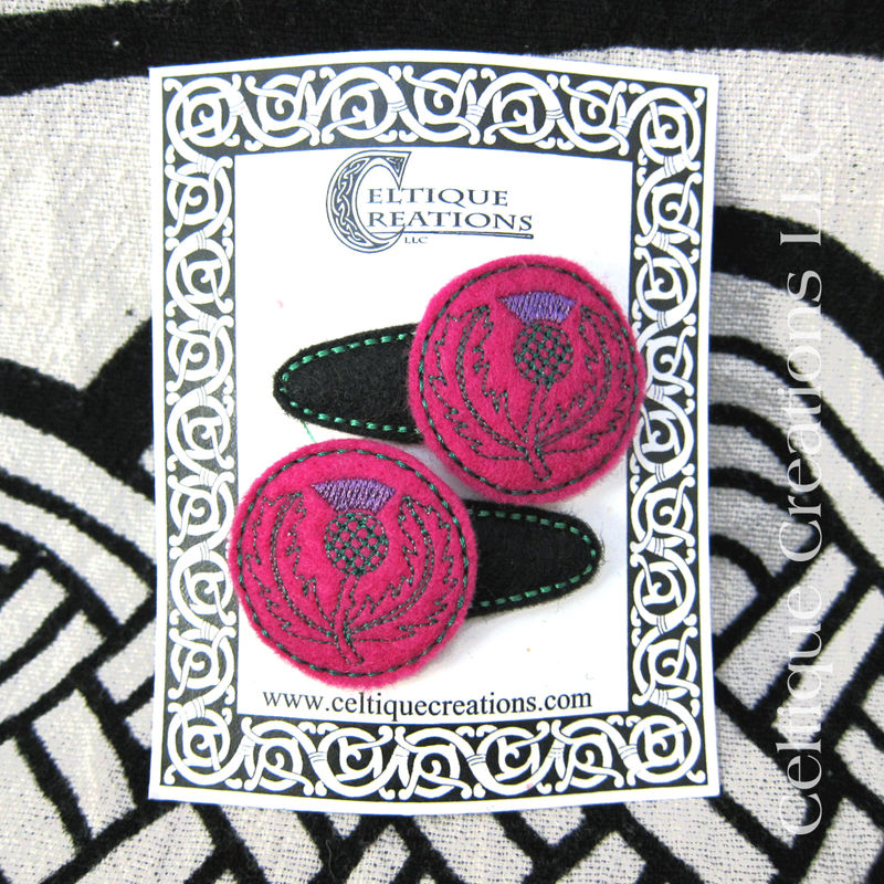 Scottish Thistle Snap Hair Clips Handmade Flower of Scotland Accessory - product images  of