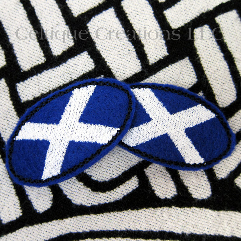 Oval St. Andrew's Cross Snap Hair Clips Scottish Saltire Felt Clippies - product images  of