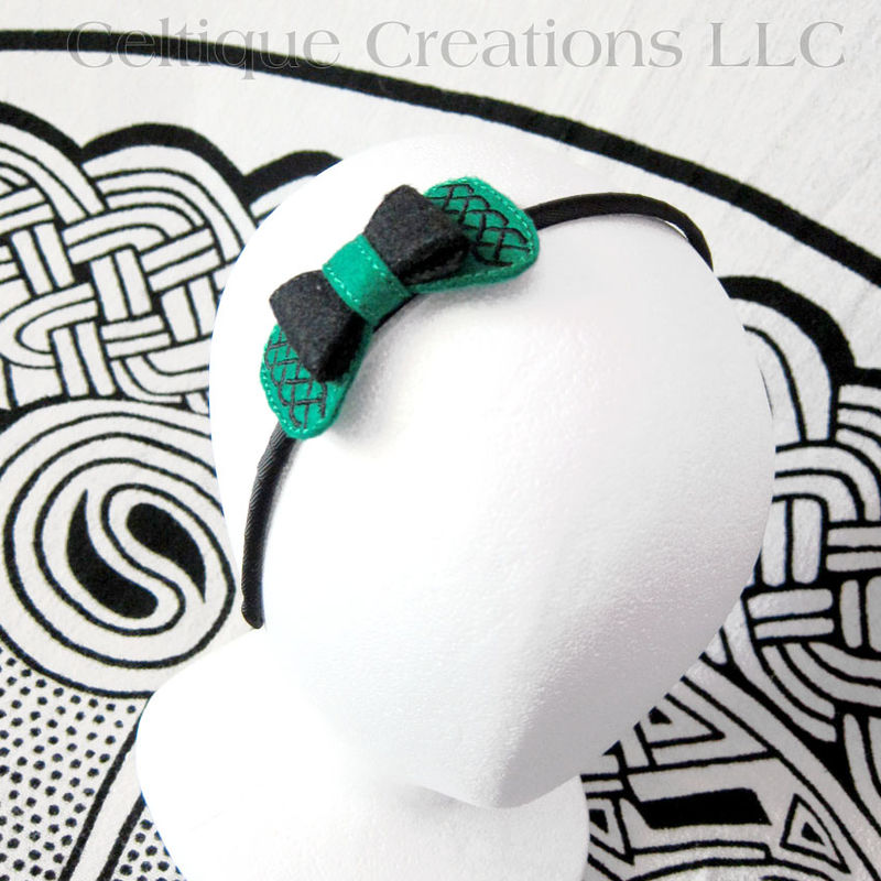 Celtic Knotwork Headband Green and Black Felt Handmade Hair Accessory - product images  of