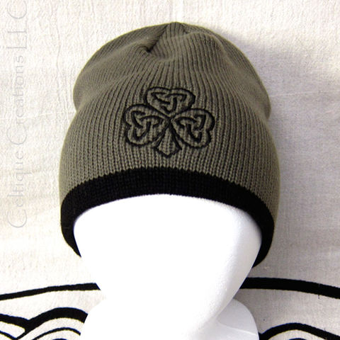 Celtic,Shamrock,Winter,Hat,Olive,and,Black,Cap,Trinity,Knot,Embroidery,Celtic Shamrock Winter Cap, Celtic Shamrock Beanie, Celtic Shamrock Skully, Irish Shamrock Hat